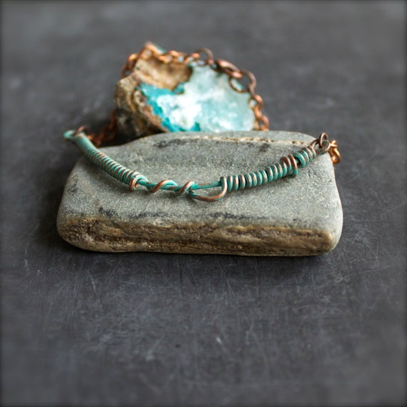 Turquoise Wire Wrap Chain Bracelet Verdigris Patina Rustic Copper Stacking Layering Boho Jewellery