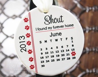 Personalized Pet Ornament Paw Print Ornament Custom Pet Ornament Adoption Ornament Paw Print Ornament Dog or Cat Ornament- Item# FUR-O