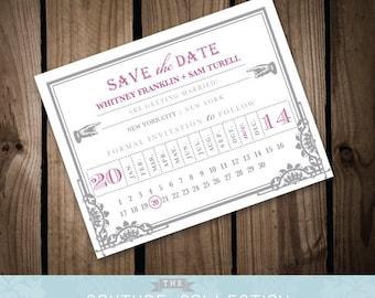 Art Deco Ticket - SAVE the DATE card - Vintage Art Deco Train Ticket Orchid Grey Customizable Printable DIY Wedding Invitation Digital File