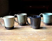 4 small rustic hand build mugs- chocolate and blues