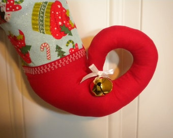 Christmas Stocking in Cupcake Print with Curly Elf Toe