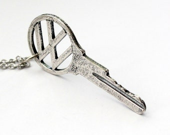 Vintage 60's Volkswagen Key Necklace Silver VW Car Key Pendant 164