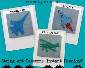 DIY String Art Pattern - Set of 3 - Rocketship, Fighter Jet & Propeller Plane
