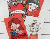 Red collection, illustrated postcards mix and match set of 8