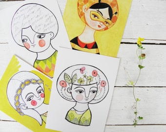 Yellow collection, illustrated postcards lot, mix & match set of 8