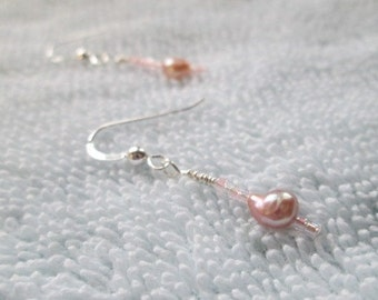 PEARL HIGHLIGHT Earrings With Freshwater Pearls & Delica Beads On Sterling Silver Wires
