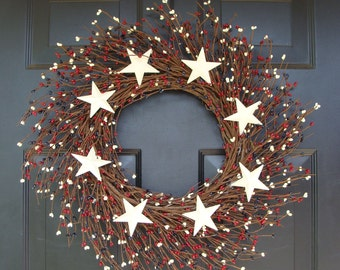 Berry Wreath, Patriotic Wreath, Stars and Stripes Americana Wreath, Memorial Day Wreath, Rustic Berry Wreath, Red White and Blue