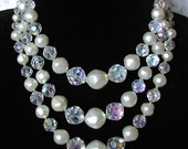Beautiful Faux Pearl & Crystal Three Strand Vintage Wedding Necklace