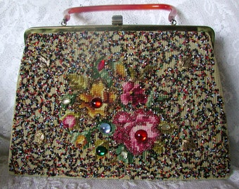 Absolutely Gorgeous Vintage Soure' Beaded Purse