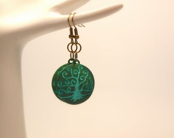 Antiqued Bronze/Brass Green Tree Of Life Boho Style Earrings, Vintage Style, Green Hand Painted Metal