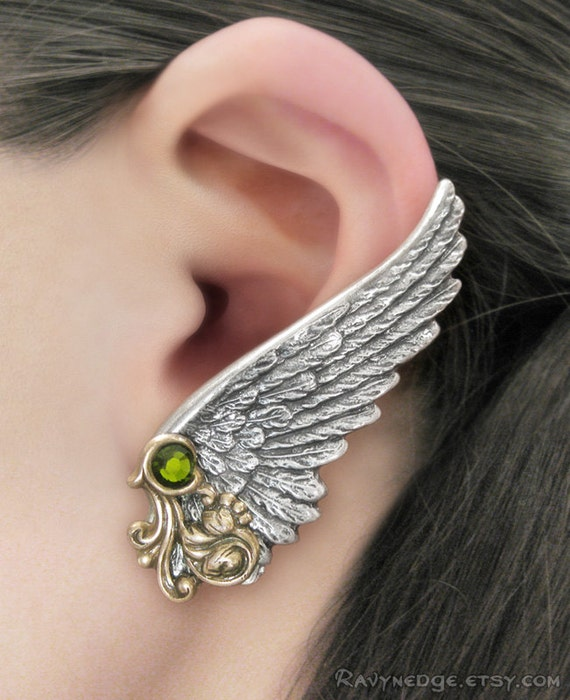 Shining Fate - Whisperling Series - Olivine Crystal Silver and Oxidized Brass Clip Wing Earrings