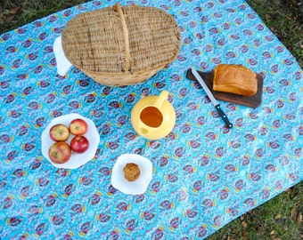 WATERPROOF Eco Friendly Picnic Blanket- Outdoors Baby Playmat Quilt - Blue Anna Maria Horner - Family Camping Blanket (Ready to Ship)