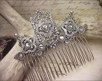 Renaissance, Silver Bridal Comb, Tudor, Bridal Hair Piece, Wedding Accessory, Wedding Hair Comb, Ren Faire, Medieval Wedding, GothCath