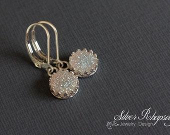 White Druzy Earrings Lever Back Sterling Silver  - Victorian Style Bezel