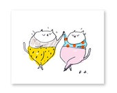 Jazz Pants - Funny Cat Card - Dance Card - Fat Cats - Joy