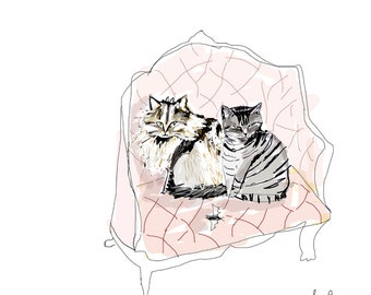 Custom Pet Portrait- GROUP PORTRAITS- Custom Cat Illustration- Cat Artwork- Cat Gift