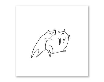 Cat Squeeze- Fine Art Print- Cute Cat Art- Cat Drawing- Ink drawing- Cat Lover