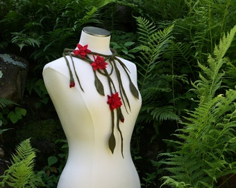 Red Flower Necklace Felted Handmade Wool Vines Leaves Wedding Fashion Accessory Flowers Gift for Her Mother Sister Statement - CUSTOM ORDER