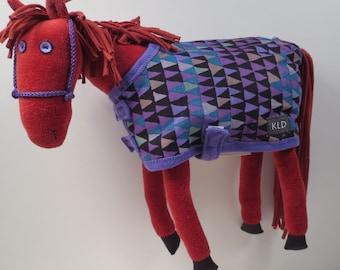 Purple Eyed Pony/ Chestnut/Purple Print Blanket