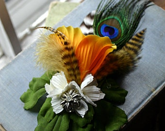 Bella Hair Clip Fascinator - Tribal, Belly Dance, Pin Up, Homecoming, Wedding, Yellow, Peacock, Feather