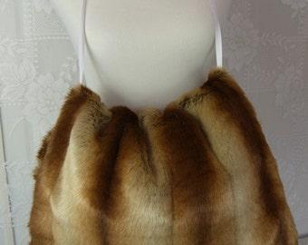 Oversized Sheared CHINCHILLA Hand MUFF, Women's Hand Muff, Faux Fur Muff, Extra Large Handmuff
