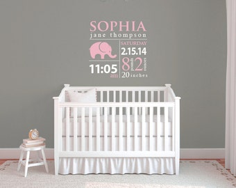 Baby wall decals, Subway art, Personalized baby gifts, Baby nursery decor, Nursery wall decal, Personalized name wall decals, Baby stats 314