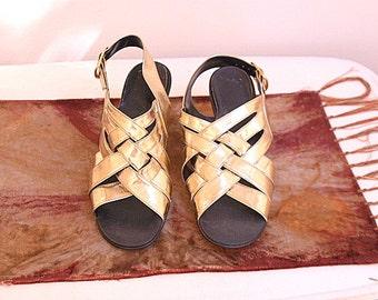 Vintage Gold Sandals Italian Retro Strap Shoes Size 7 1/2B