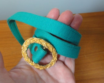 Vintage Green Fabric Skinny BELT with Gold Buckle- Small Size
