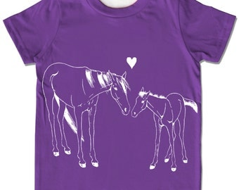 HORSE shirt, Organic Kids Clothes, Purple tshirt, childrens clothing, pony t shirt, girls horse shirt, baby shower gift, baby girl outfit