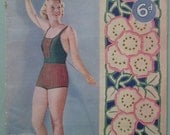 Vintage 1930s Knitting Sewing Crochet Magazine The Needlewoman 1936 166 knitting patterns 30s swim suit bathing costume