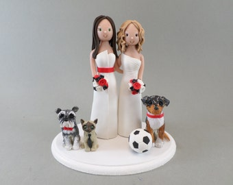 Same sex Couple With Pets Personalized Wedding Cake Topper