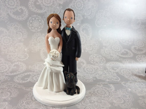 wedding cake topper with four cats wedding cake topper personalized amp groom with a black 26662