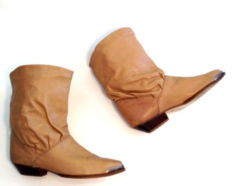 Vintage Boots Tan Leather Boots Western Boots Slouchy Boots Womens Boots Size 10 Boots Southwestern Boots Leather Ankle Boots Tan Ankle Boot