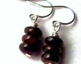Red Garnet Earrings. Sterling Silver.  Deep Red. Ruby Berries