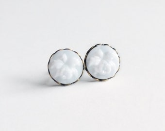 White Orchid Post Earrings Vintage Milk Glass Floral Cameo Studs Hypoallergenic White Orchid Jewelry