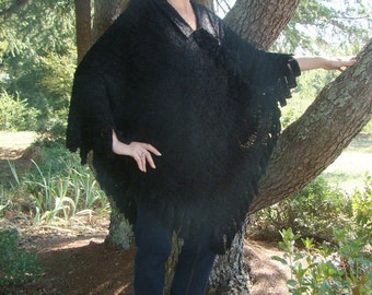 The Wednesday - Mid-Length Black Poncho