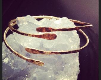 Hammered Bronze Cuff Bangle - Upper Arm Bracelet