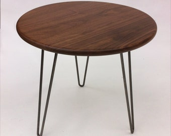 "20"" Round Solid Walnut Mid Century Modern Side Table - New Atomic Era Design In Solid Walnut with Hairpin Legs"