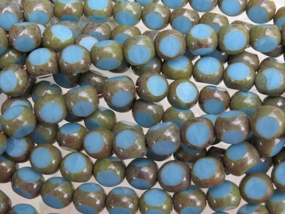 8mm 3 Cut Opaque Blue Turquoise Picasso Firepolished Czech Glass Beads - Qty 25 (BS654)