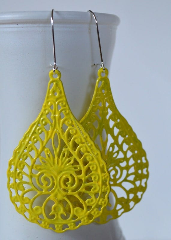 Soft Yellow Lacy Raindrop Earrings, Boho Filigree Earrings, Statement Earrings, Fall Earrings, Bohemian Hippie Chic Earrings
