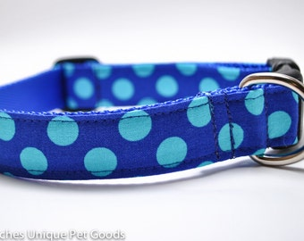 Blue Polka Dot Dog Collar / Aqua Royal Dot / Custom Dog Collar