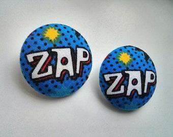 Comic ZAP Blue Cotton Fabric Large Button Ear Studs