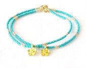 Gold Beaded Bracelet - Czech Glass Beads - Turquoise - The Skinny: Flower Single