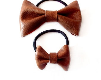 Ponytail Holder Elastic Hair Tie - Leather - Saddle Brown - Set of 2 - The Lifestyle: Skinny Large and Chubby Mini Leather Bow