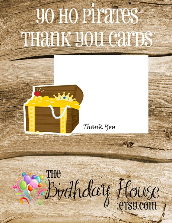 Yo Ho Pirate Party - Set of 8 Treasure Chest Thank You Cards by The Birthday House