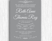 Wedding Invite - Grey and White Vintage Flourish Printable
