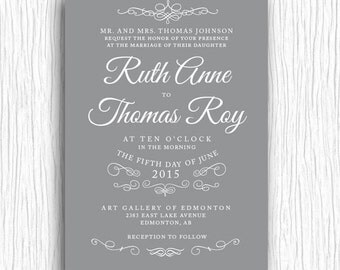 Wedding Invite - Grey and White Vintage Flourish Printable
