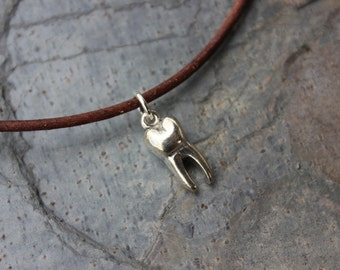 Tooth necklace - large sterling silver molar charm on distressed brown leather cord - mens, womens - free shipping USA - gift for dentist