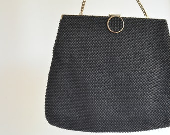 1950's beaded black handbag rockabilly retro purse vintage clutch