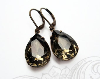 Crystal Earrings Grey Gray Rhinestone Jewelry Black Diamond Bridesmaid Gift CAMBRIDGE Black Diamond